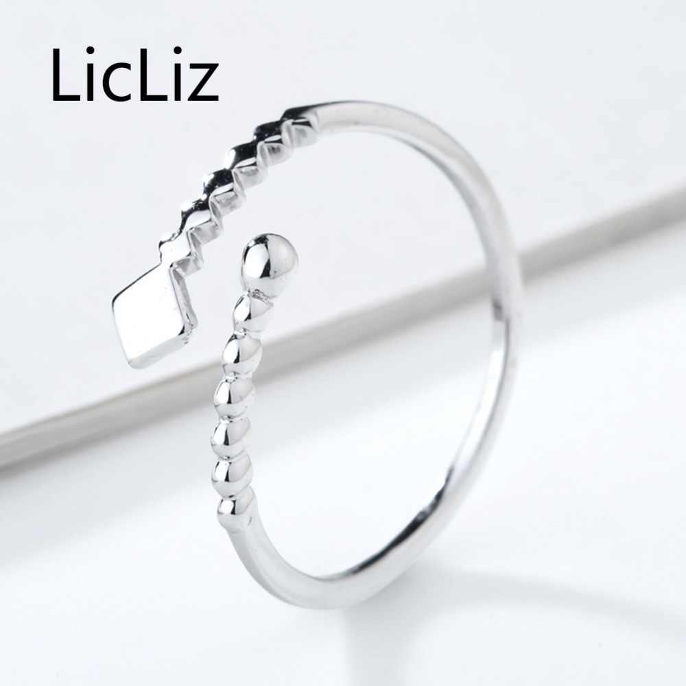 LicLiz ที่ไม่ซ้ำกัน 925 แหวนเงินสเตอร์ลิงสำหรับสตรี 2018 ใหม่แฟชั่นฟันเลื่อยและลูกปัด Bypass แหวนเครื่องประดับ Bijoux LR0690