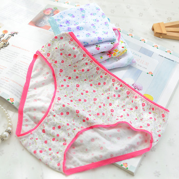 6Pcs/Lot Cotton Ladies Children Brief Briefs Youngsters Underwear Underpants Child Panties 2-12Years