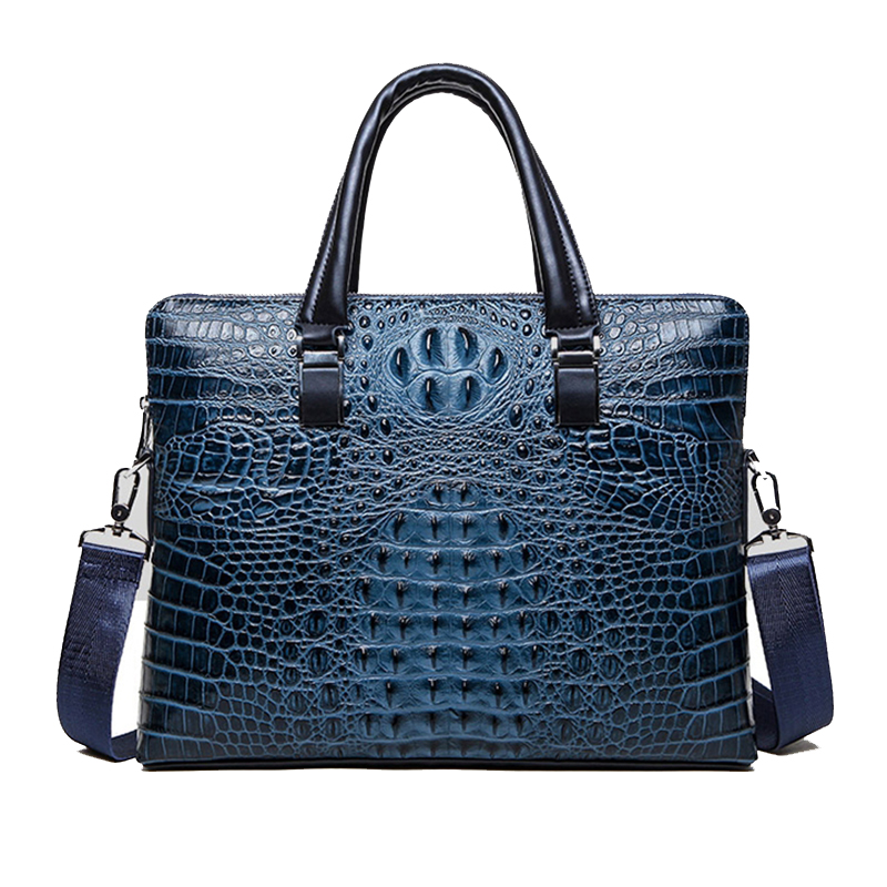 Image 1 - Crocodile pattern cowhide Leather Briefcase Mens Bags Men leather handbag Shoulder Bags male Laptop A4 paper tote bag Handbagbags handbagsmen business bags menlaptop tote -