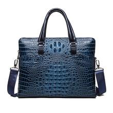 "Famous design briefcase Luxury Crocodile pattern cowhide leather Totes handbag briefcase male shoulder bag  14"" Laptop bags"