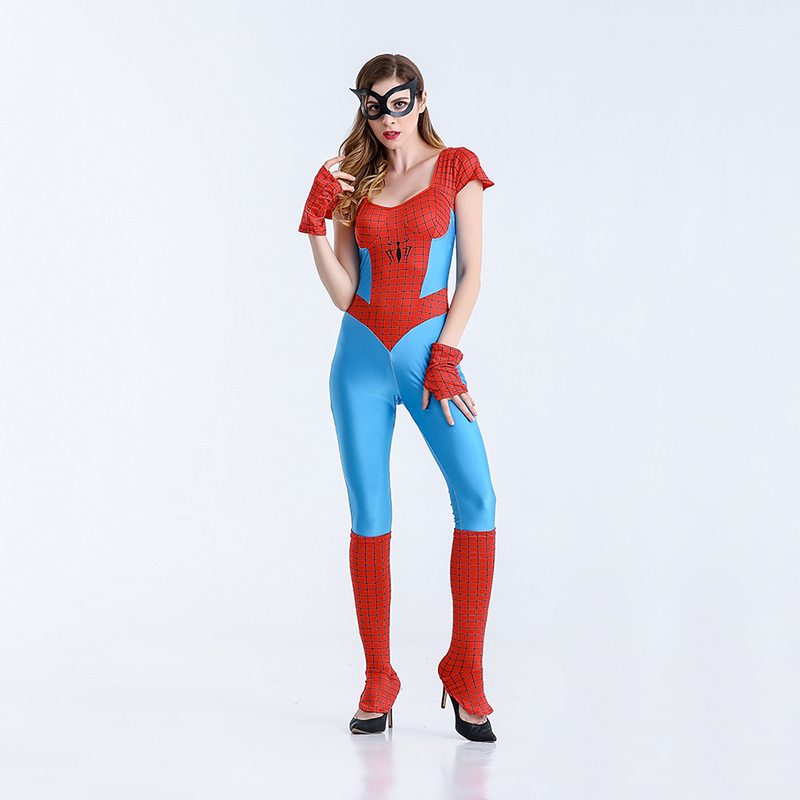 Spider Jumpsuits Cosplay Costume For Women Halloween Spiderman Cosplay Female Fancy Jumpsuits+Glove+Socks+Eyeshade 4pcs/set