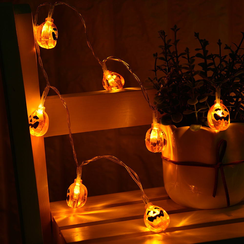 2.2m Halloween LED String Lights Pumpkin 20 LED Light Battery Power LED Garlands Holiday Party Garden Decoration Fairy Lights 2 5m 10leds ghost led string lights halloween decoration