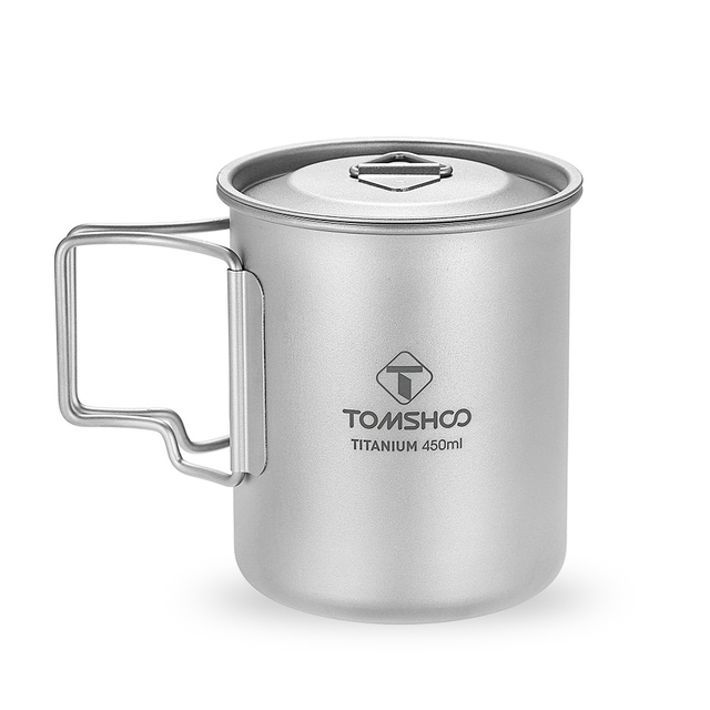 TOMSHOO 450ml Titanium Cup Outdoor Water Cup Portable Camping Tableware Picnic Water Cup Mug with Lid Foldable Handle