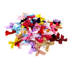 50/100pcs/lot Little white printing Polyester Ribbon Bowtie Handmade Bows Decorative gift Scrapbooking Diy supplies