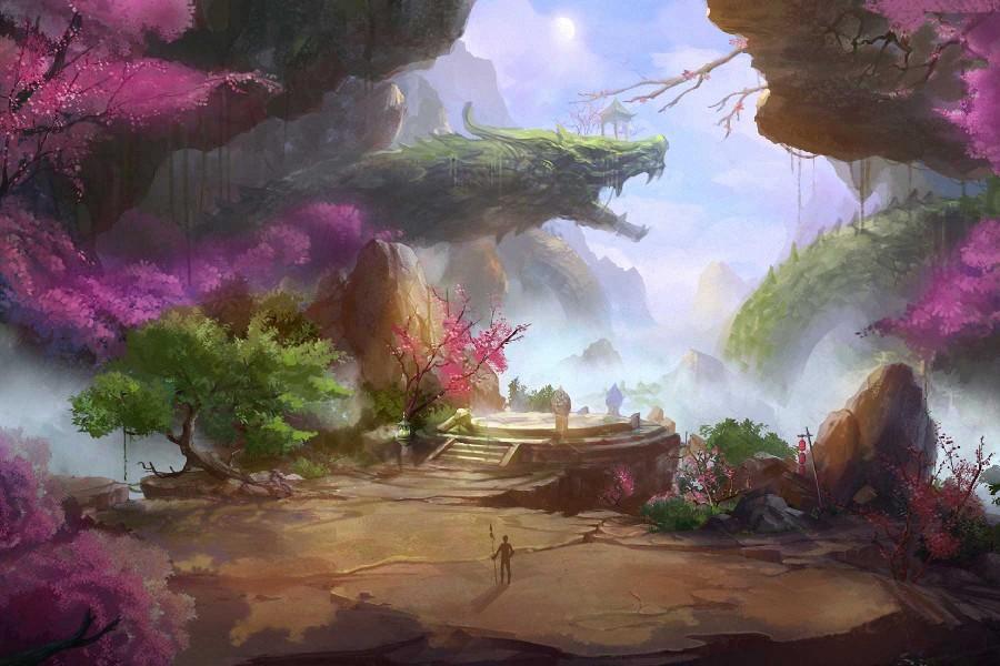 art fantasy world landscape mountains rocks dragon cherry