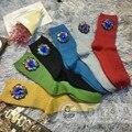 Calcetines Mujer Носки Высокого класса Ручной Работы На Заказ Сапфир Бисером Кистями Solid Tide Бренд Хлопок В Трубке Груды девушка