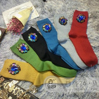 2016 New Girls Socks High End Handmade Custom Sapphire Beaded Tassels Solid Tide Brand Combed Cotton