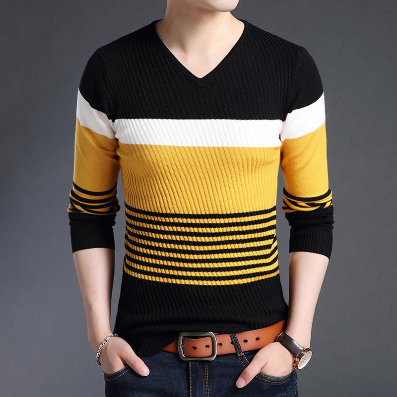2020 New Warm Fashion Brand Sweaters Men's Pullovers Striped Slim Fit Jumpers Knitwear Autumn Korean Style Casual Men Clothes
