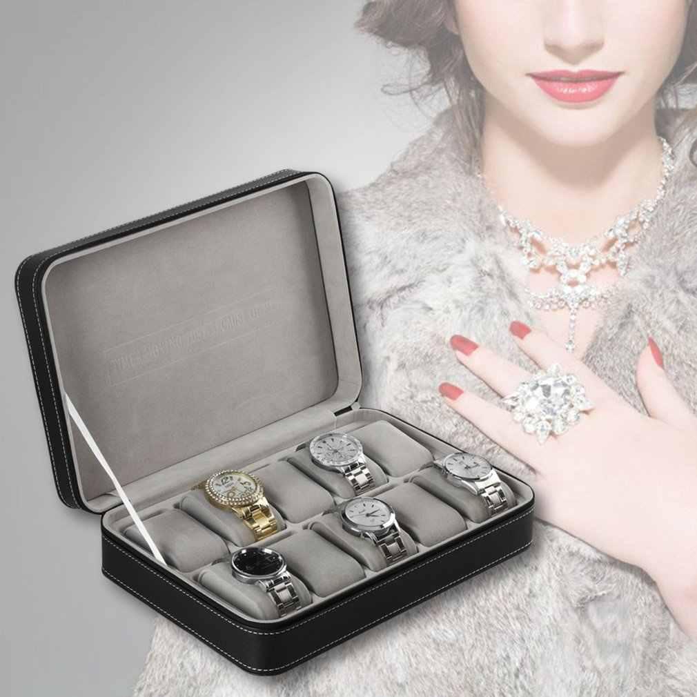 10 сеток из искусственной кожи браслет для мужчин коробка для часов чехол на молнии шкатулка для ювелирных изделий многофункциональный Дисплей Органайзер посылка коллекция
