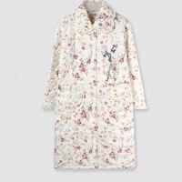 ขายร้อนฤดูใบไม้ร่วงของผู้หญิงเสื้อคลุมแขนยาวผ้าฝ้ายเสื้อคลุมNightgownsชุดนอนที่อบอุ่นสบายๆ...