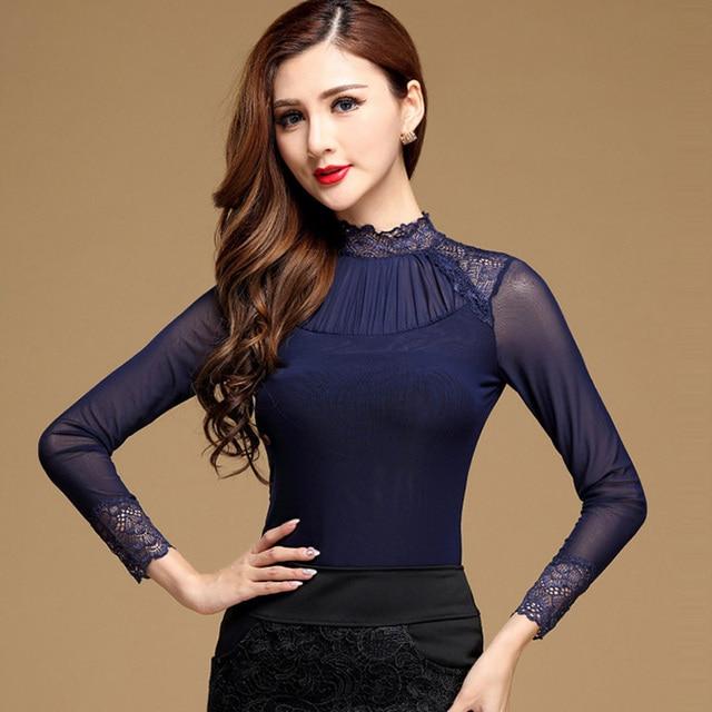 c04c909e58 Plus size Sexy Lace tops Fashion Casual Long sleeve Mesh patchwork women  tops Elegant Slim Mesh