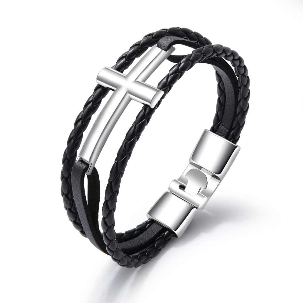 8 Choices Charm Punk Cross black/brown/white Leather Bracelets & Bangles for man Vintage Wristband Cuff Jewelry Gift