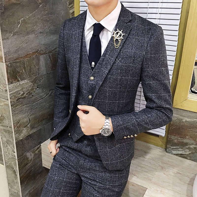 Toturn 3 本格子縞のスーツ男性スリムフィット紳士結婚式のスーツプラスサイズフォーマルなビジネススーツの男タキシード terno Masculino
