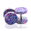 1 pair new fashion hot 10mm stainless steel purple candy color screwed-off ear plugs stud earrings jewelry