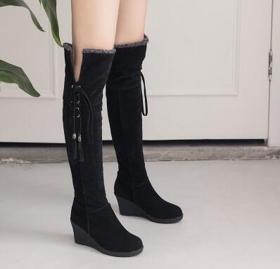 Able Autumn And Winter Slope With Round Knee High Boots Lace Tassel Women Boots Double Plush Boots Size 34-44 Utmost In Convenience