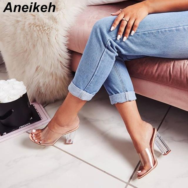 Aneikeh New Women Sandals PVC Jelly Crystal Heel Transparent Women Sexy Clear High Heels Summer Sandals Pumps Shoes