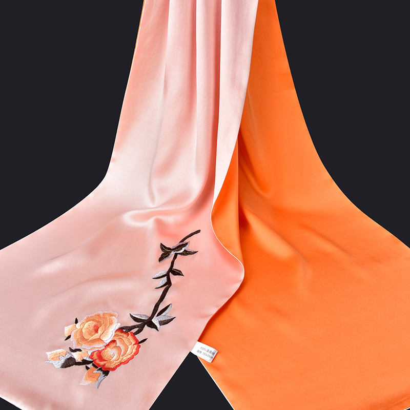 100% чистый Шелковый шарф роскошный 2019 Ханчжоу 16 момме шелковые шали и палантины для женщин ручная вышивка натуральный шелк шарфы - 4