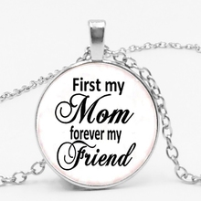 Mother's Gift First My Mom Forever My Fviend Glass Jewel Cabochon Pendant Necklace Punk Style Jewelry my first toolbox