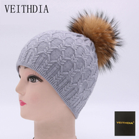 VEITHDIA Winter Star Beanies Knitted Hat For Women And Girls Real Raccoon Fur Pom Pom Hat
