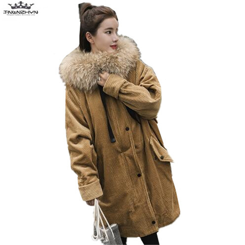 tnlzhyn 2018 Winter Women Coat Fashion Women Hooded Corduroy Down Cotton Jacket Thick Fur Collar Parka Warm Winter Jacket Y651 women winter coat jacket 2017 hooded fur collar plus size warm down cotton coat thicke solid color cotton outerwear parka wa892