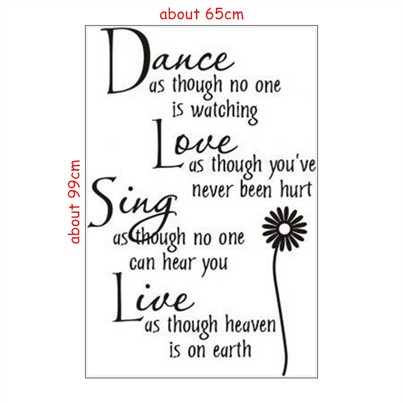 Dance Love Sing Live English Quotes Wall Stickers Sunflower Flower Vinyl Decals Home Living Room Decoration Removable Wallpaper In From