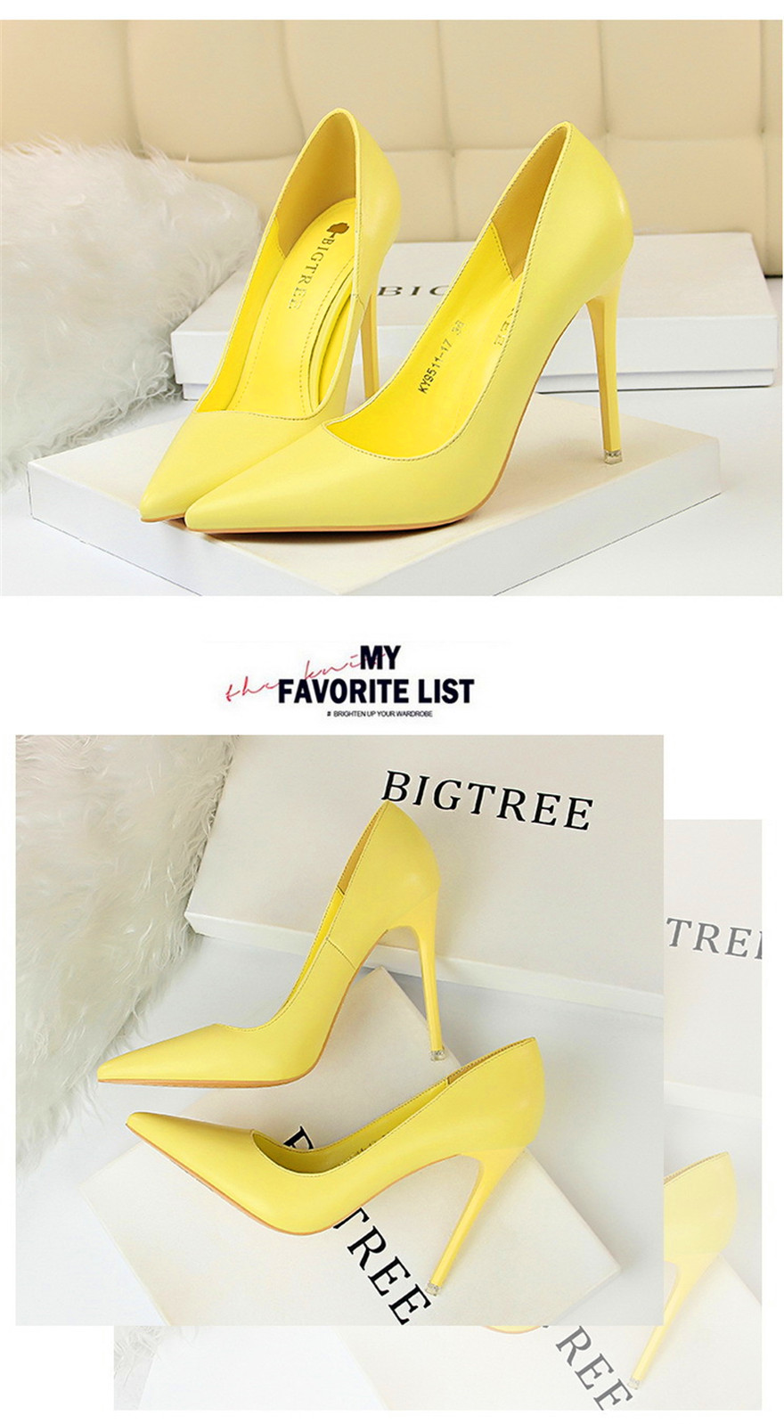 BIGTREE Soft Leather Shallow Fashion Women's High Heels Shoes Candy Colors Pointed Toe Women Pumps Show Thin Female Office Shoe 7