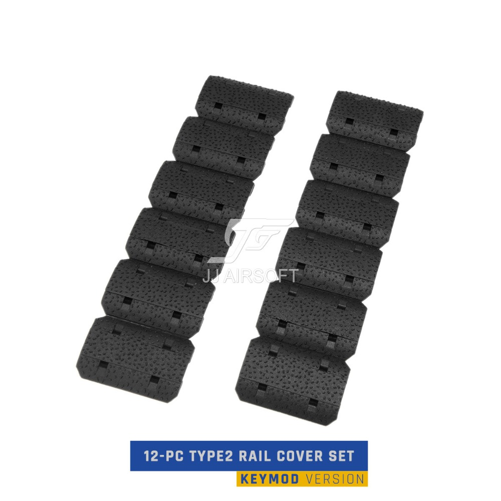 12-PC 12 pcs Type2 Keymod Ferroviaire Cover Set (Noir/Tan)