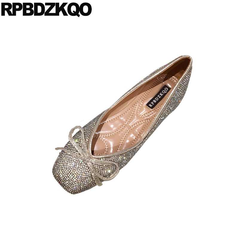 4fc99e443 diamond square toe ballerina sparkling slip on bow 2018 crystal dress gold  china flats rhinestone wedding