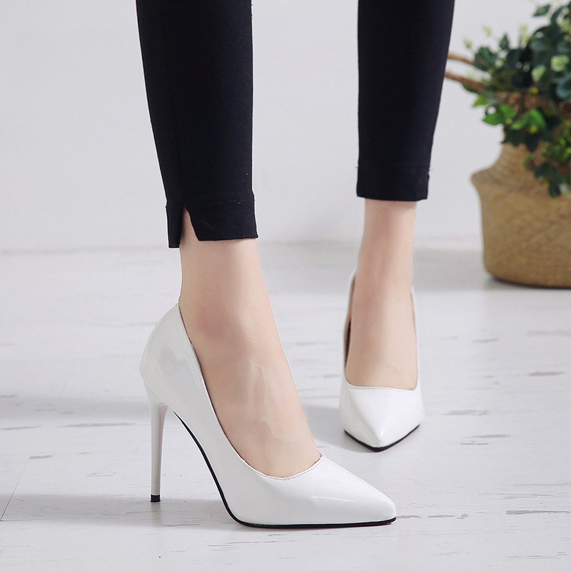 New Pointed Toe Leather Women Pumps Fashion Office Shoes Women Sexy High Heels Shoes Thin Heel Women 's Wedding Shoes 11
