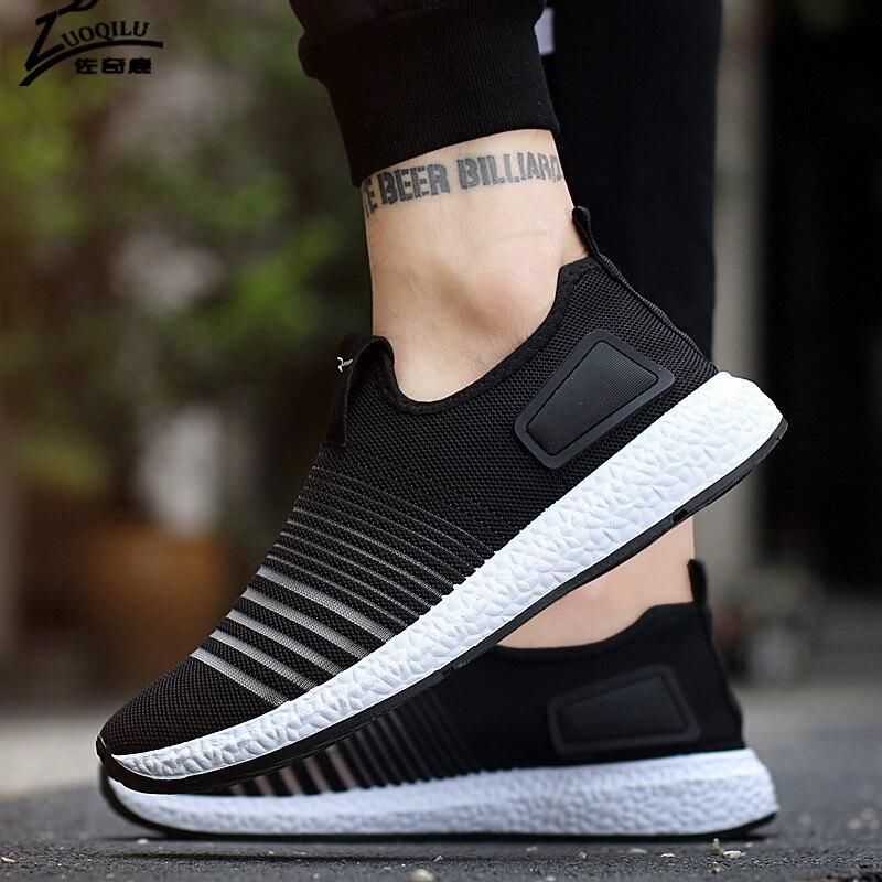 2018 повседневная обувь Для мужчин Лоферы Обувь с дышащей сеткой черный Для мужчин повседневная обувь на плоской подошве для Для мужчин zapatillas... ...