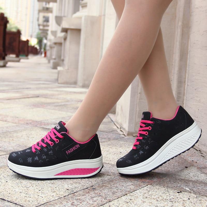 Women running shoes wedge Platform