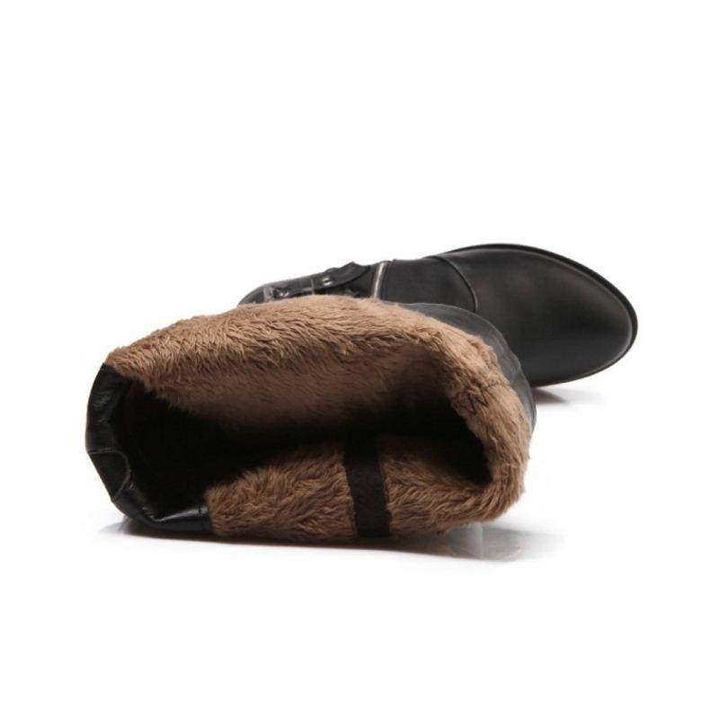 Sexy Éclair Talons Femmes 39 Cuir Noir Bout Bottes De Hiver Véritable À Chaussures Genou Fermeture Boucle Rond Taille 34 Mode Hauts 77X0qAS