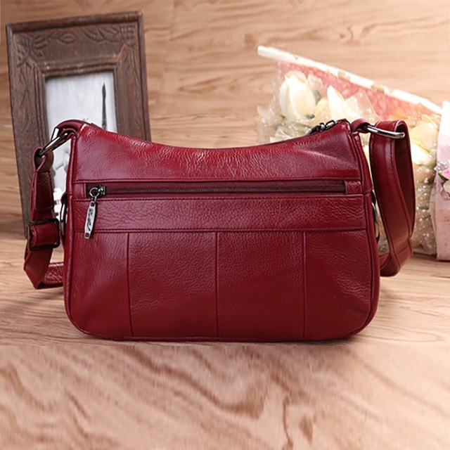 100% Genuine Leather Women Messenger Sling Shoulder Bag Fashion Casual Ladies Satchel Famous Brand Female Hobo Cross Body Bags