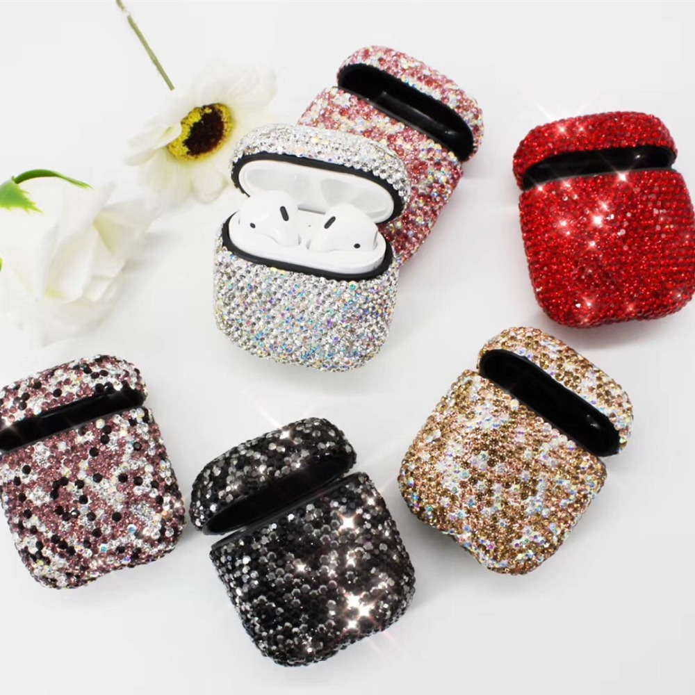 Luxurious Bling Diamonds Decorative Case for Apple AirPods Accessories Wireless Bluetooth Earphone Protective Cover Bag Shell