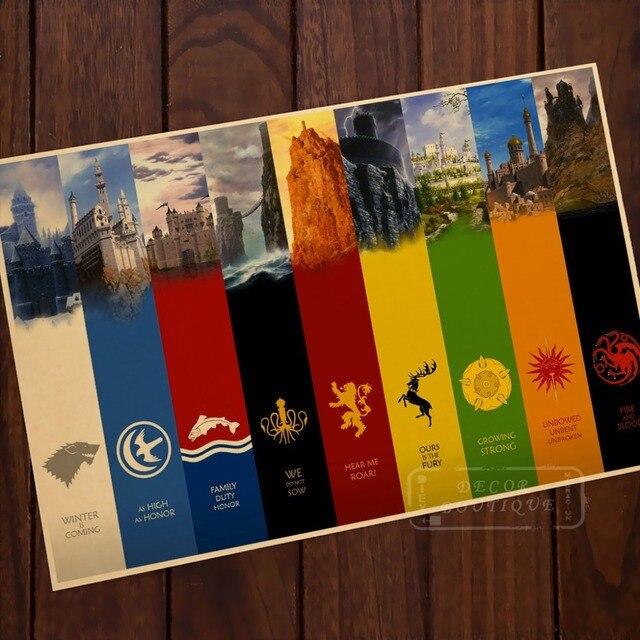 Extrêmement Game of Thrones Famille Emblème Carte Classique Vintage Rétro  PI33