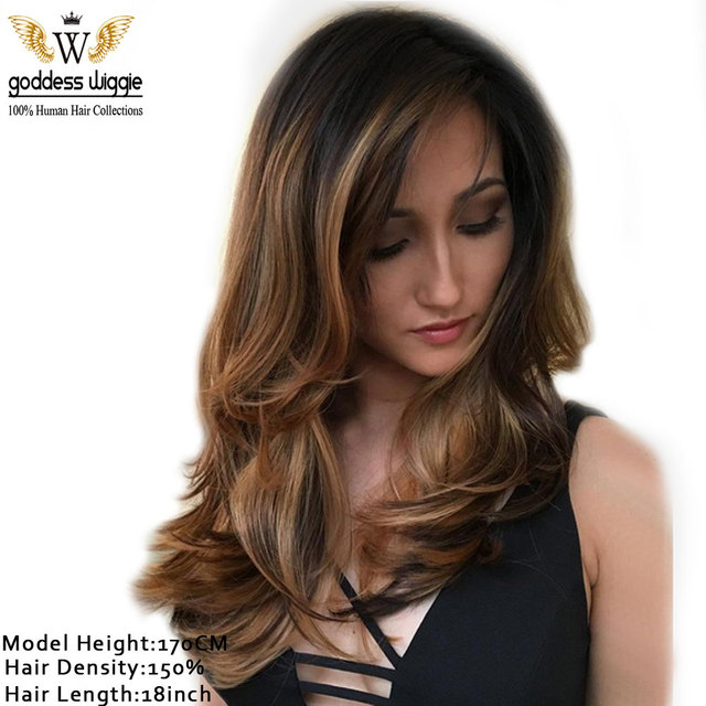 150 Density Brown Balayage Body Wavy Full Lace Wigs For Women Ombre Color Front