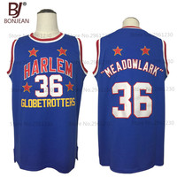 New Cheap Meadow MEADOWLARK 36 Lemon Harlem Globetrotters Throwback Basketball Jersey Blue Retro Stitched Mens Basket