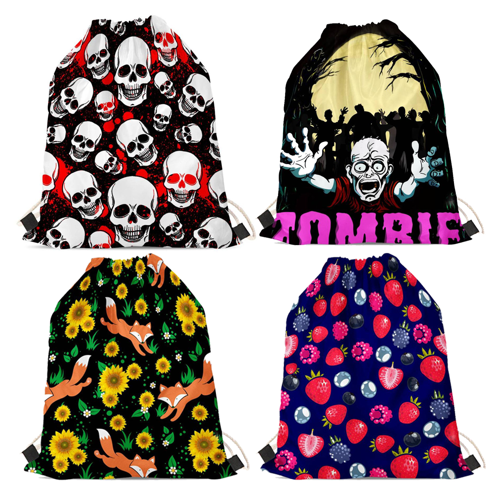 Nopersonality Printing Skull Drawstring Backpack Student Bags Cool Men Women Travel Shoes Bag Small Children String