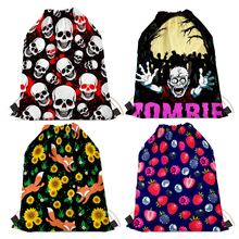 Nopersonality Printing Skull Drawstring Backpack Student Bags Cool Men Women Travel Shoes Bag Small Children String Backpack