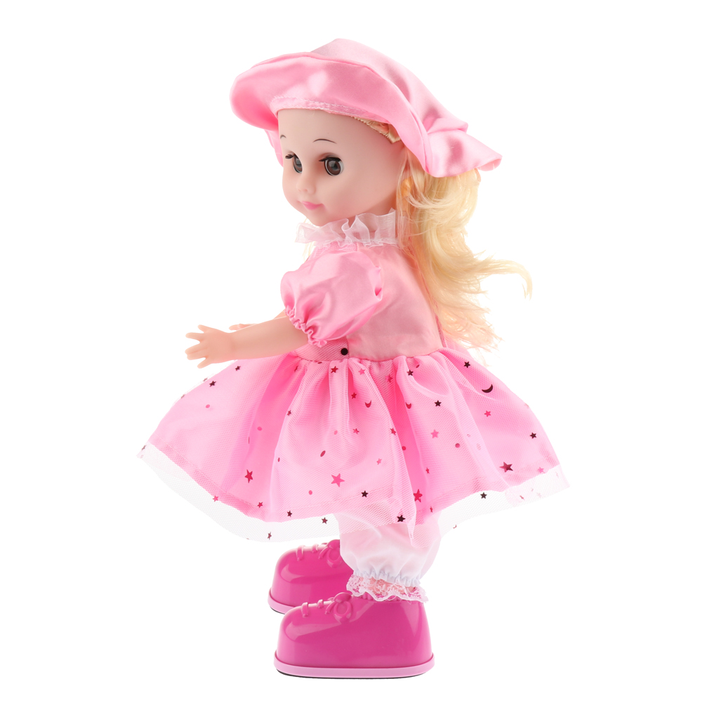 Smart Walking, Singing Robotic Girl Doll Toy for Kid Dress Up Nursery Role Pretend Play Fun Robot Baby Doll #D