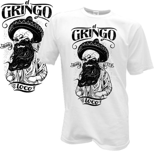 Camisetas moda 2019 manga camiseta Homme camisetas Gringo México calavera Totenkopf barba fresca calaveras Biker Streetwear camisetas
