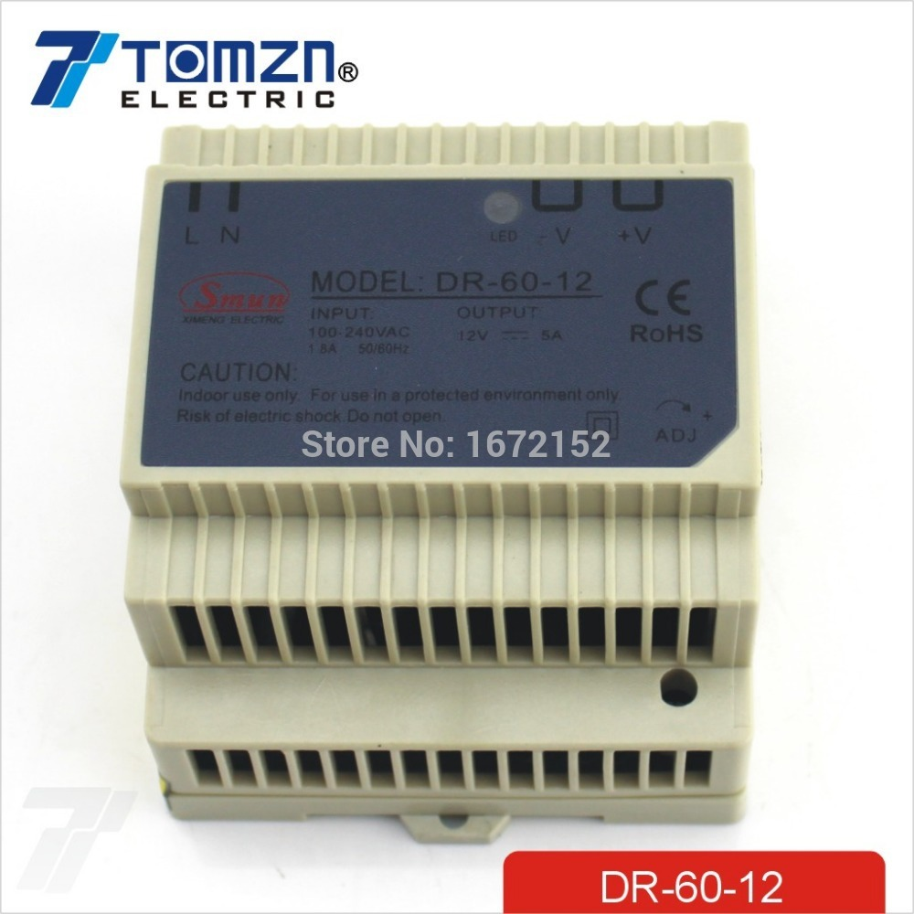 цена на 60W 12V 5A Din Rail Single Output Switching power supply AC TO DC SMPS