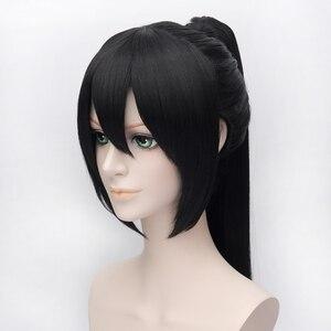 Image 3 - Hakuouki Yukimura Chizuru קוספליי פאות עבור נשים גבר יוניסקס סינטטי שיער פאה 60 cm ארוך ישר קוקו שחור משלוח חינם