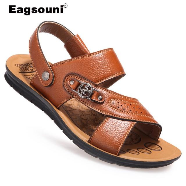 68ea653da570f9 2018 Top Quality Sandal Men Summer Slippers Male Genuine Leather Sandals Men  Outdoor Beach Shoes Plus