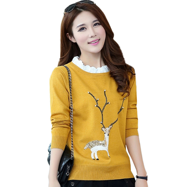 2017 autumn fashion women pullover sweater with deer sweaters and pullovers Women's knitted pull cute beading sequined sueter