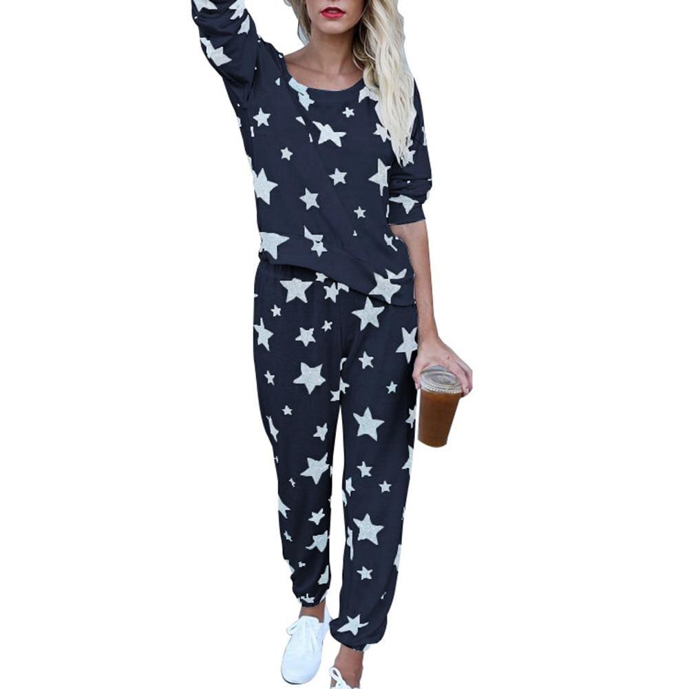 Fashion Star Pattern Long Sleeve Top Pants Women's Home Sleepwear   Pajamas     Set   casual leisure dropshipping