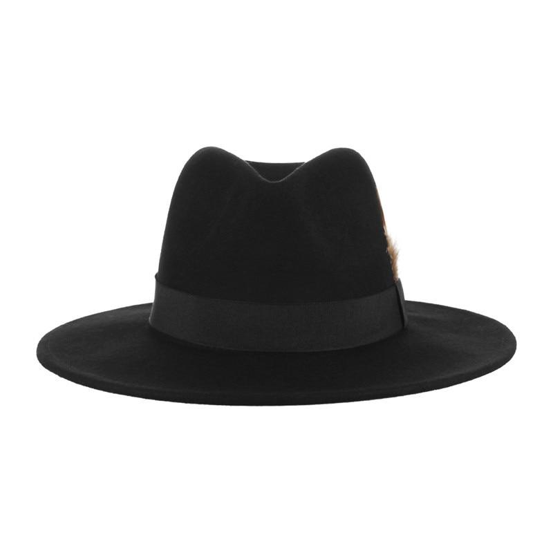 Sombreros de fieltro de lana Vintage negro para hombres sombrero de Iglesia  decorativo de plumas de ala ancha sombrero de Jazz masculino sombrero  Panamá en ... bdf800fef9e