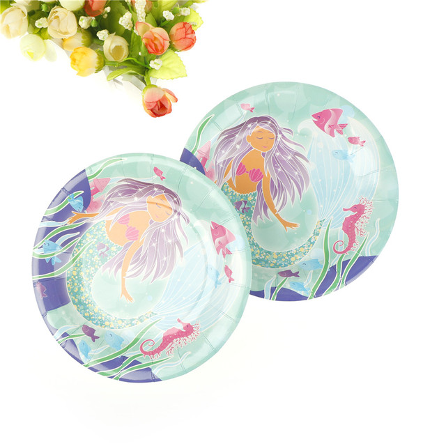 6pcs/set 7inch Diameter 18cm Little Mermaid Paper Plates Cartoon Design Disposable For Kids
