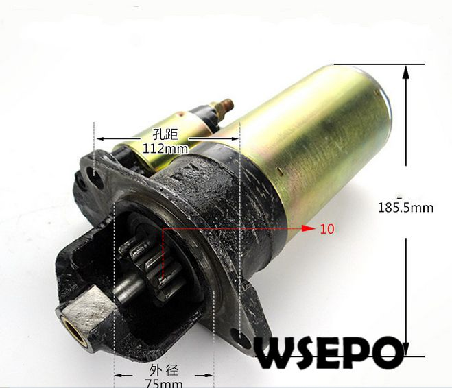 OEM Quality! Electric Start Motor(10 Teeth Gear) for R185/R190 4 Stroke Small Water Cooled Diesel Engine oem quality plastic bottom water filter valve fits for 2 inch gasoline or diesel engine powered water pump set