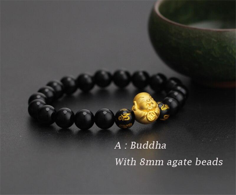 Pure 24 k 999 Geel 3D Gold Smile Boeddha Geluk Kraal Zwarte Agaat 8mm Armband Voor Vrouwen Mannen Mode 1 1.2g 12*13mm 2019 Nieuwe-in Armbanden & Armring van Sieraden & accessoires op  Groep 1